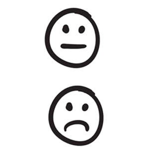 emoticons of sadness and disinterest