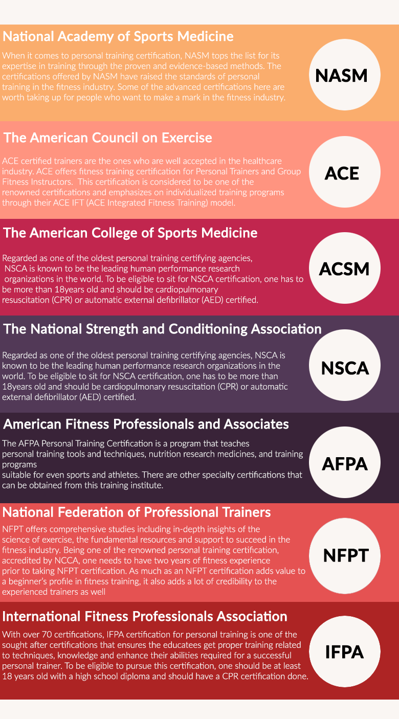 seven best personal trainer certifications infographic