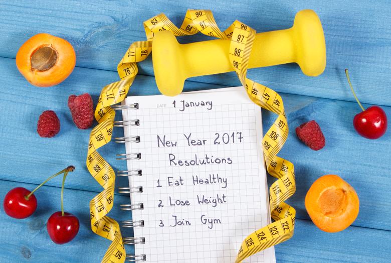 fitness resolution flatlay