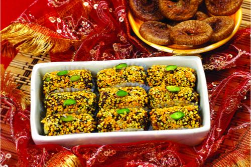 Rawa anjeer rolls popular diwali sweets